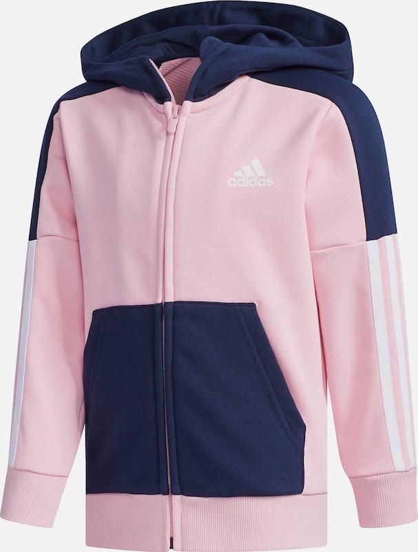 Adidas Jacke, schwarz mit pinken Streifen, S (164), Baumwolle