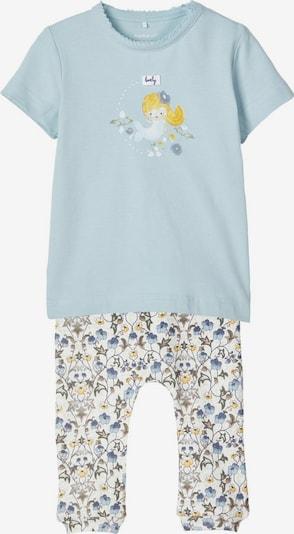 NAME IT T-Shirt und Hose Geschenk-Set in blau / gelb / mischfarben / weiß: Frontalansicht