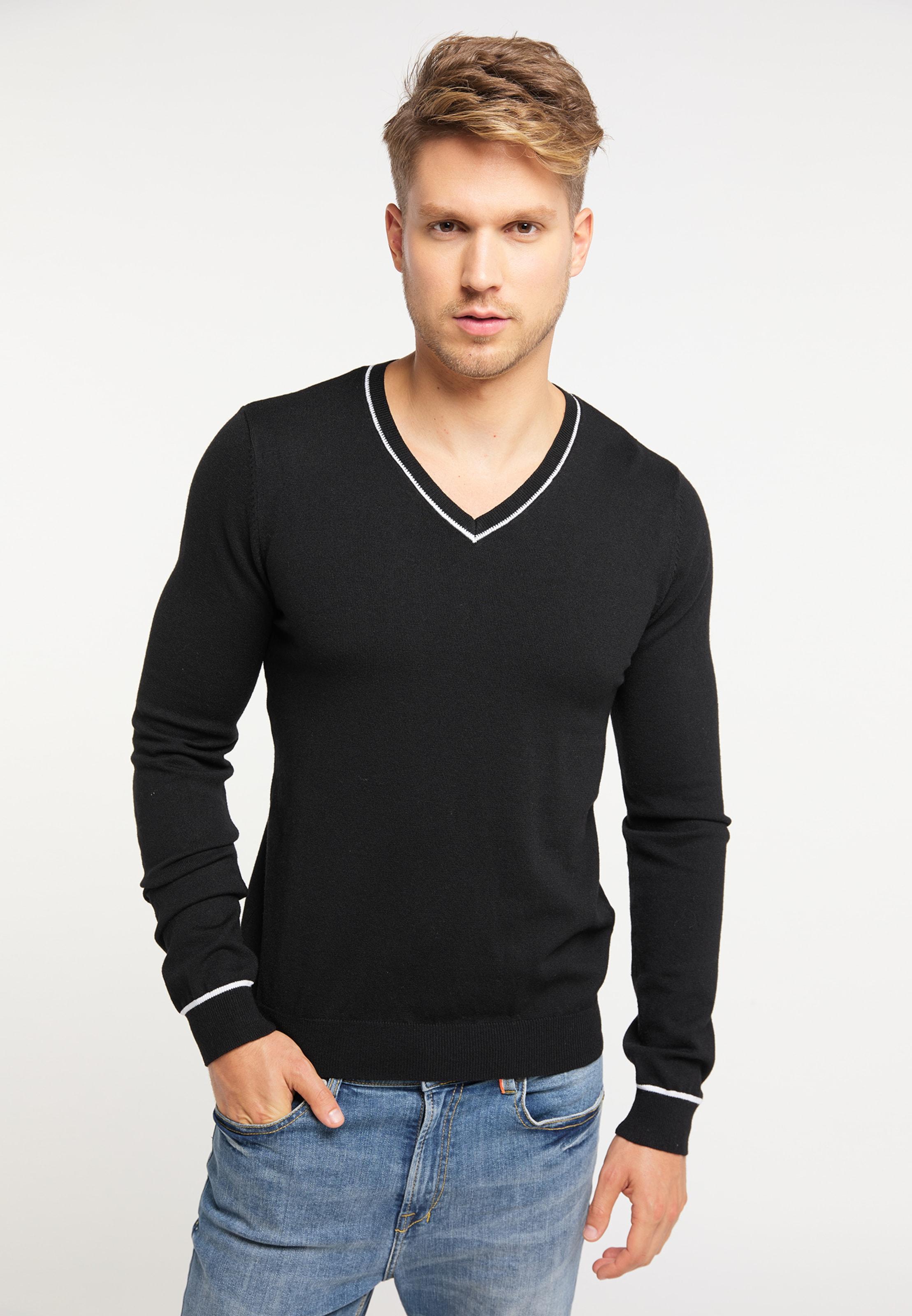MO Pullover in schwarz / weiß Unifarben 4059275513889