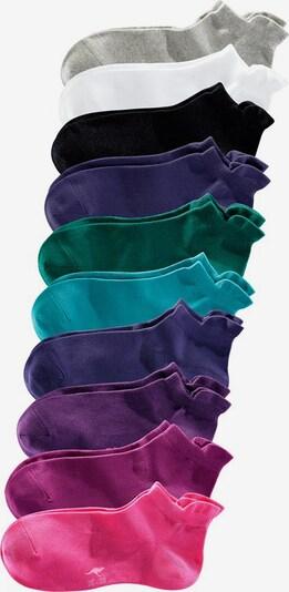 KangaROOS Sneakersocken (10 Paar) in blau / türkis / hellgrau / petrol / lila / pflaume / pink / himbeer / schwarz / weiß, Produktansicht
