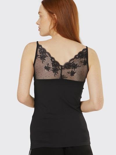 VILA Top mit Spitze in schwarz: Rückansicht