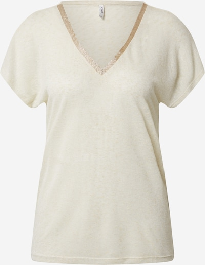 ONLY Shirt 'ONLRILEY S/S V-NECK GLITTER TOP JRS' in beige, Produktansicht