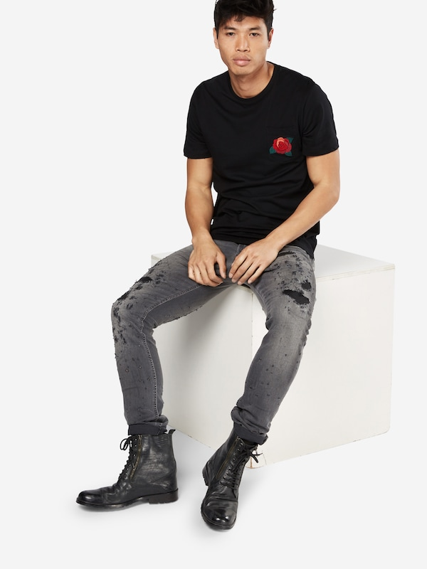 Only & Sons T-Shirt 'ROSE EMBRODIDERY POCKET TEE'
