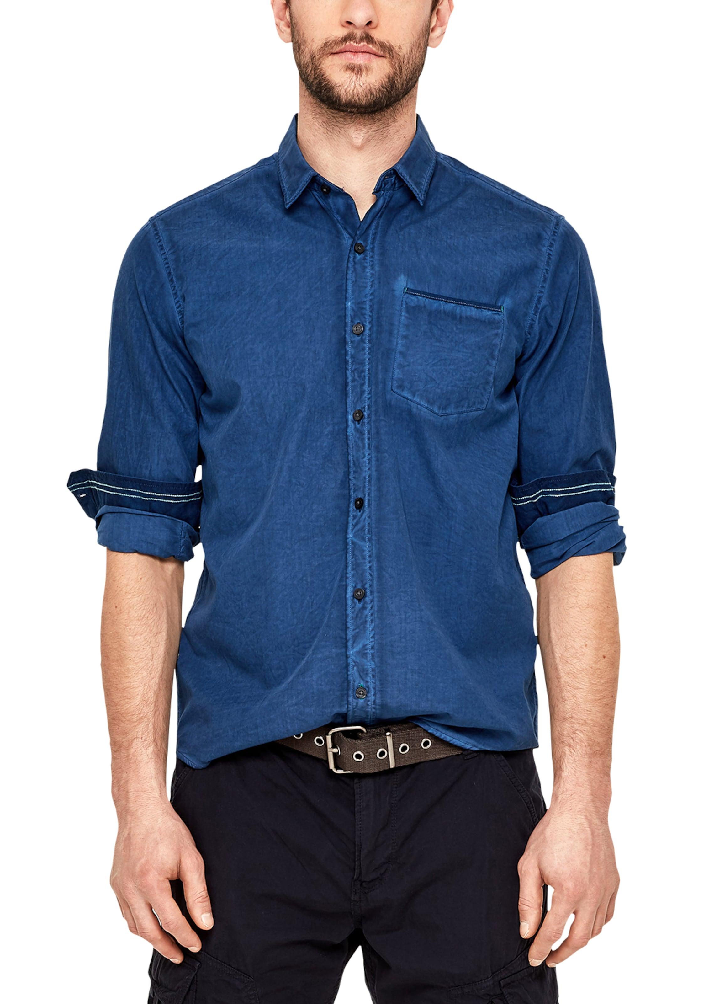 Label Red Blaumeliert Mit In Hemd S oliver Brusttasche Modischer bYf6yg7