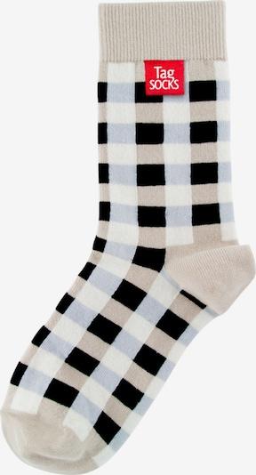 Tag SOCKS Sokken 'Multi Patterns' in de kleur Beige / Lichtblauw / Zwart / Wit, Productweergave