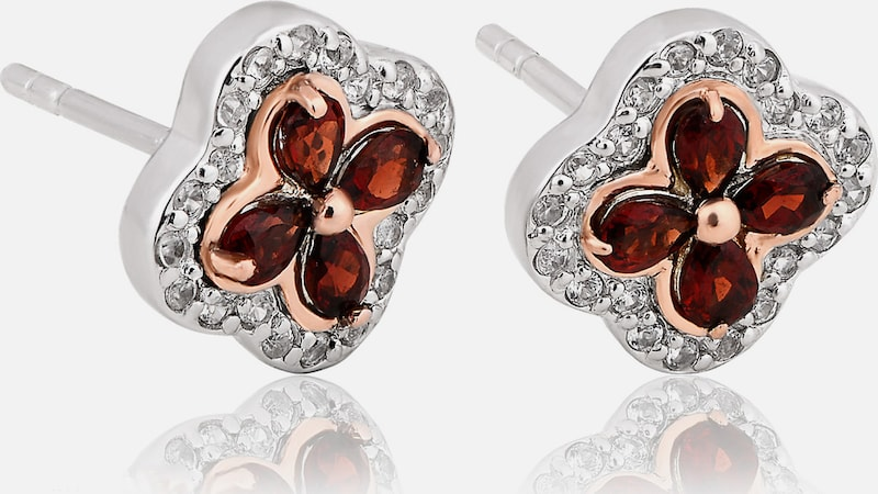 CLOGAU Oorbellen 'Tudor Court Earrings' in de kleur Rose-goud / Donkerrood / Zilver, Productweergave