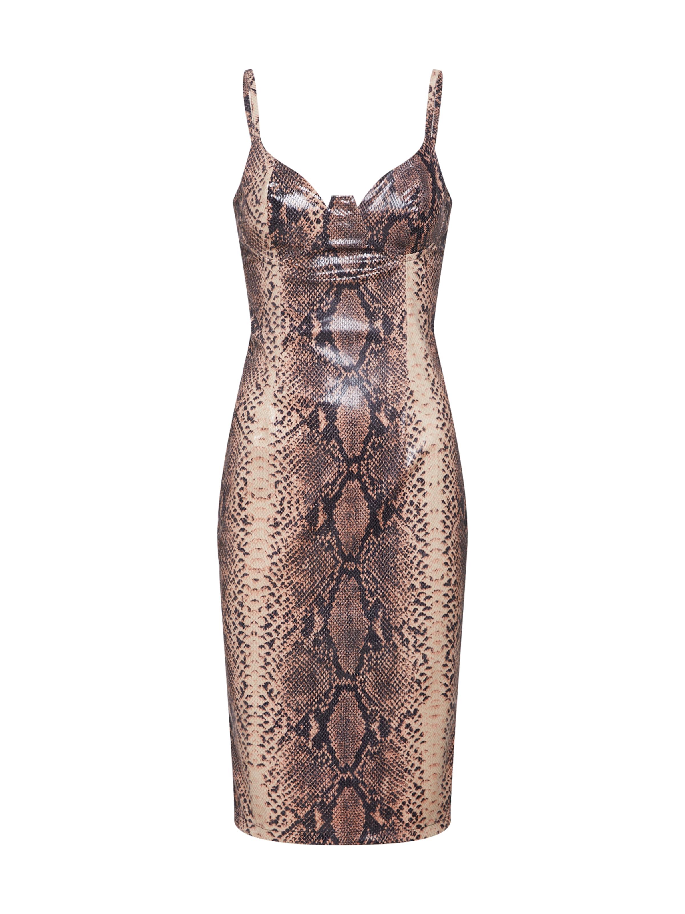 In Snake' Dress Pu Midi Missguided Braun Kleid 'strappy CshrtQd