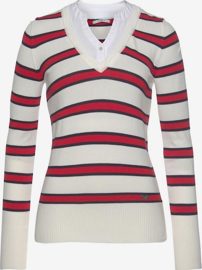 Tom Tailor Polo Team Pullover in blau / rot / offwhite, Produktansicht