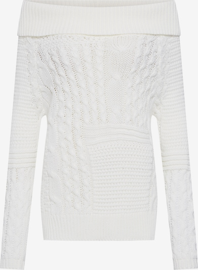Boohoo Pullover 'Off The Shoulder Jumper with Side Splits' in weiß, Produktansicht