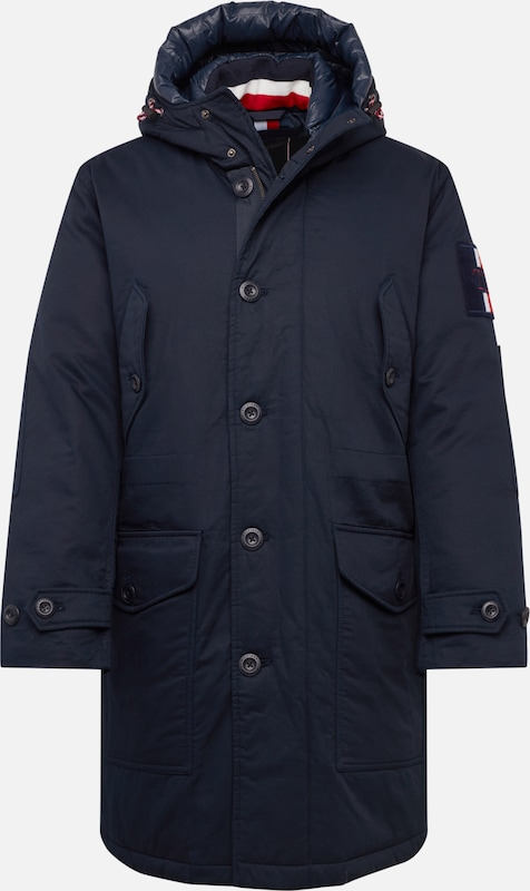 TOMMY HILFIGER Winterparka 'TH MONOGRAM COTTON HOODED PARKA' in de kleur Donkerblauw, Productweergave