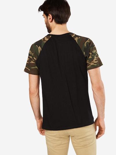 Urban Classics T-Shirt in hellbraun / grün / khaki / schwarz: Rückansicht