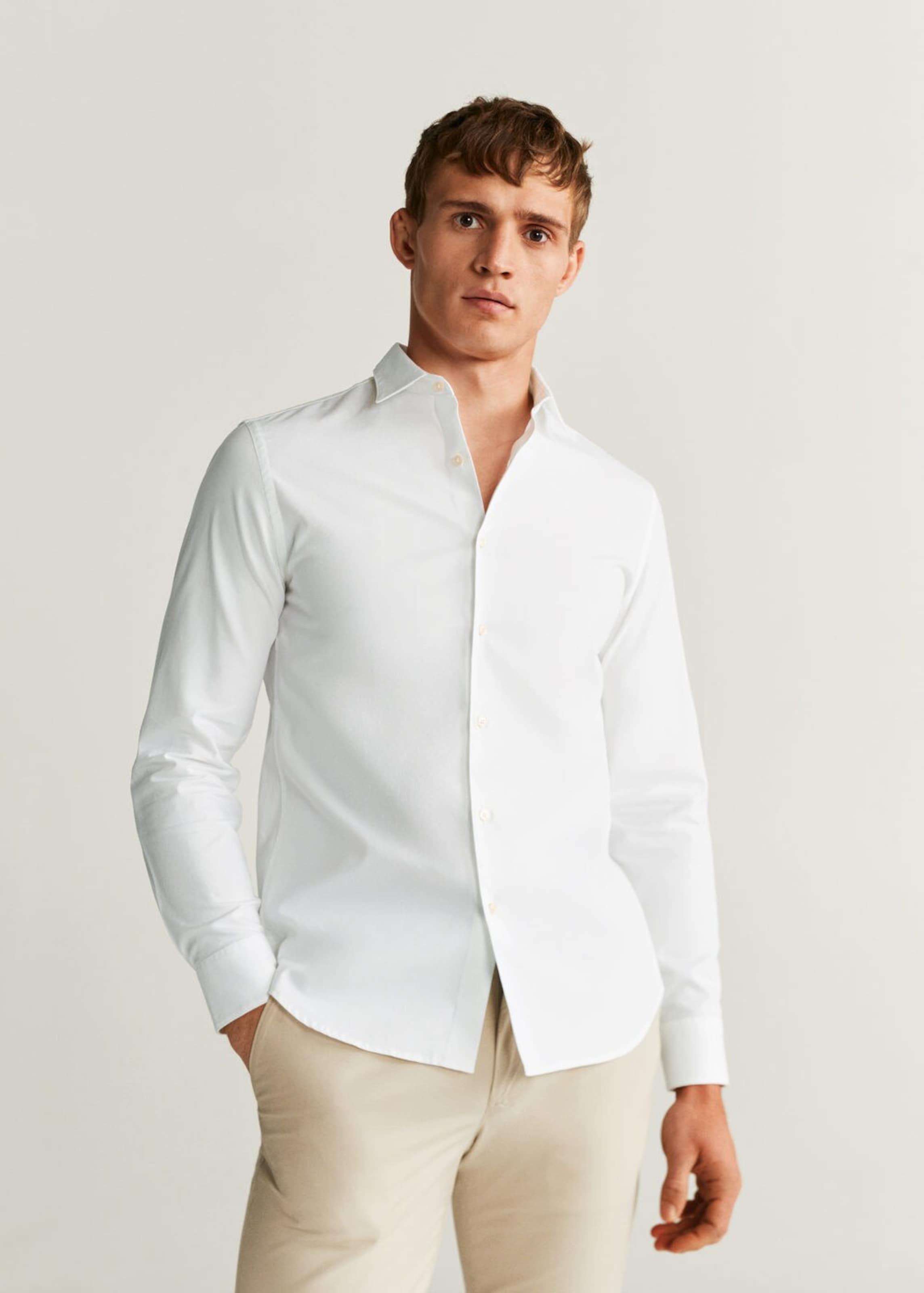 MANGO MAN Hemd 'Oxmart' in weiß Unifarben 670632612001