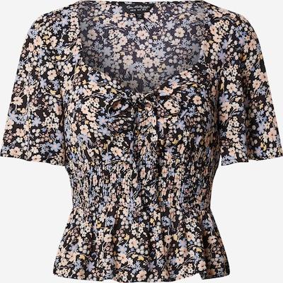 fekete Miss Selfridge Póló 'SHIRRED DITSY TOP', Termék nézet
