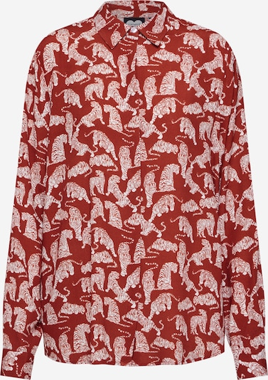 CATWALK JUNKIE Bluse 'Tiger Love' in dunkelrot / weiß, Produktansicht
