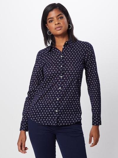 UNITED COLORS OF BENETTON Bluse in dunkelblau / weiß, Modelansicht