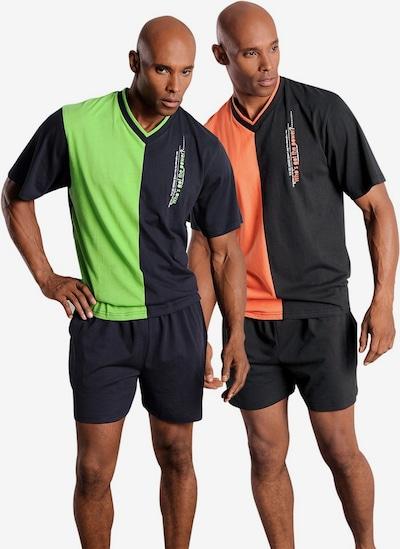 LE JOGGER Kratka pidžama u neonsko zelena / narančasta / crna: Prednji pogled