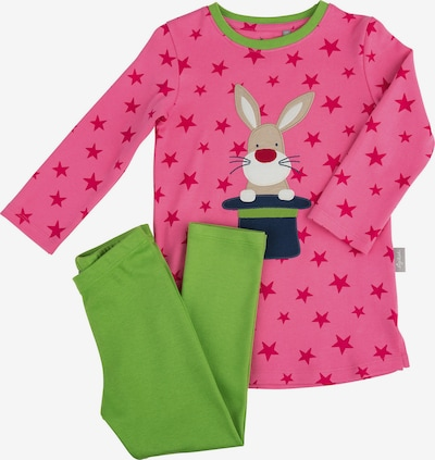 SIGIKID Schlafanzug in beige / dunkelblau / apfel / pink / weiß, Produktansicht