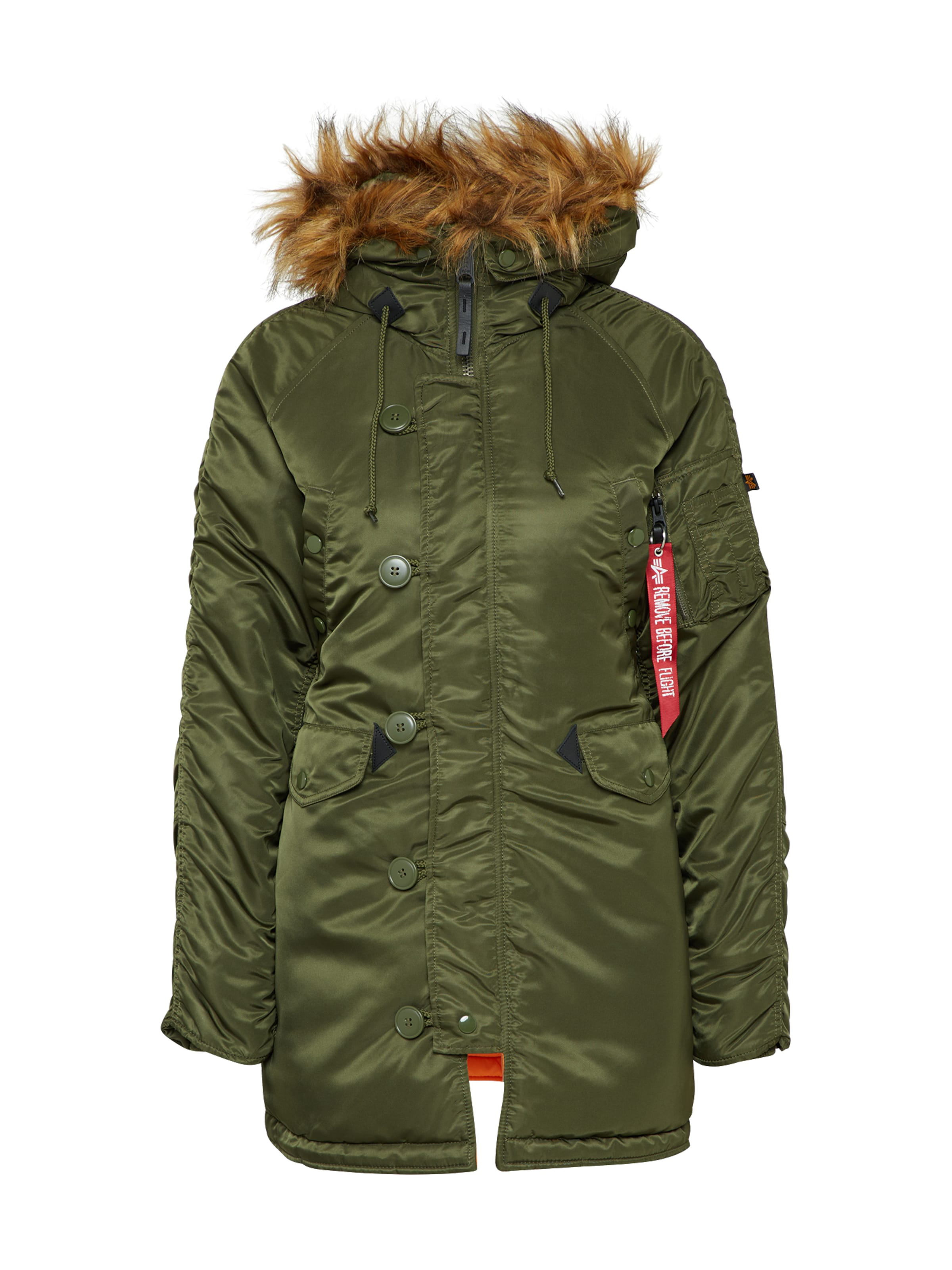 ALPHA INDUSTRIES Winterjacke mit Kapuze in dunkelgrün