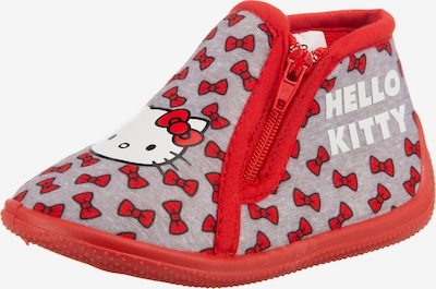 HELLO KITTY Hausschuhe 'Hello Kitty' in grau / rot, Produktansicht
