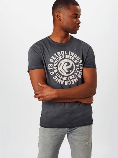 Petrol Industries T-Shirt in dunkelgrau / weiß: Frontalansicht