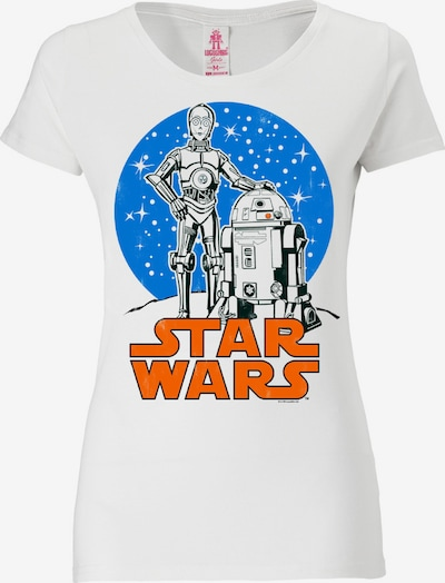 LOGOSHIRT T-Shirt 'Star Wars Droids' in blau / orange / weiß, Produktansicht
