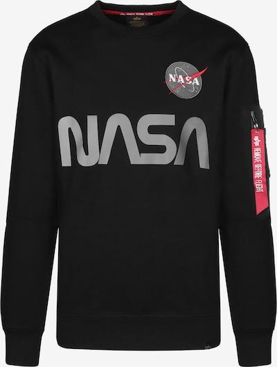 ALPHA INDUSTRIES Sweater 'Nasa Reflective' in grau / hellrot / schwarz, Produktansicht