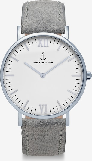 Ceas analogic Kapten & Son pe gri închis / alb, Vizualizare produs