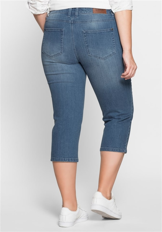 sheego denim  3/4-Stretch-Jeans mit Stickerei