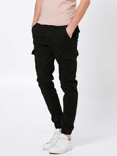 JACK & JONES Pantalon cargo en noir, Vue avec modèle