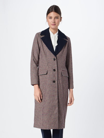 re.draft Mantel 'Houndstooth Coat' in champagner / navy / rot: Frontalansicht