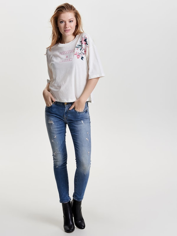 Only Embroidery Shell With Short Sleeves
