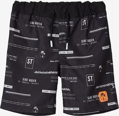 NAME IT Szorty kąpielowe w kolorze czarny / białym, Podgląd produktu