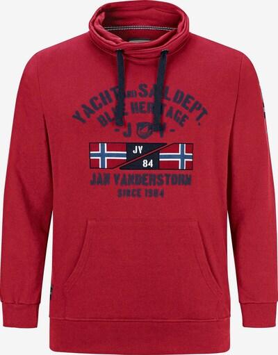 Jan Vanderstorm Sweat-shirt 'Fapi' en bleu ciel / gris foncé / rouge feu / noir / blanc, Vue avec produit