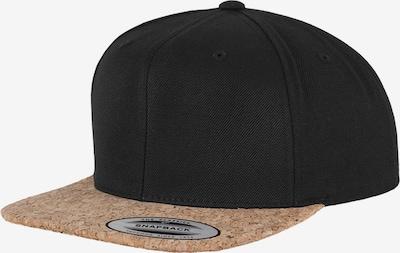 Flexfit Cap in hellbraun / schwarz, Produktansicht