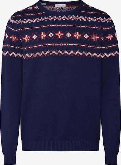 SELECTED HOMME Sweter 'SLHNEWCHRIST CREW NECK W EX' w kolorze granatowy / czerwony / białym: Widok z przodu