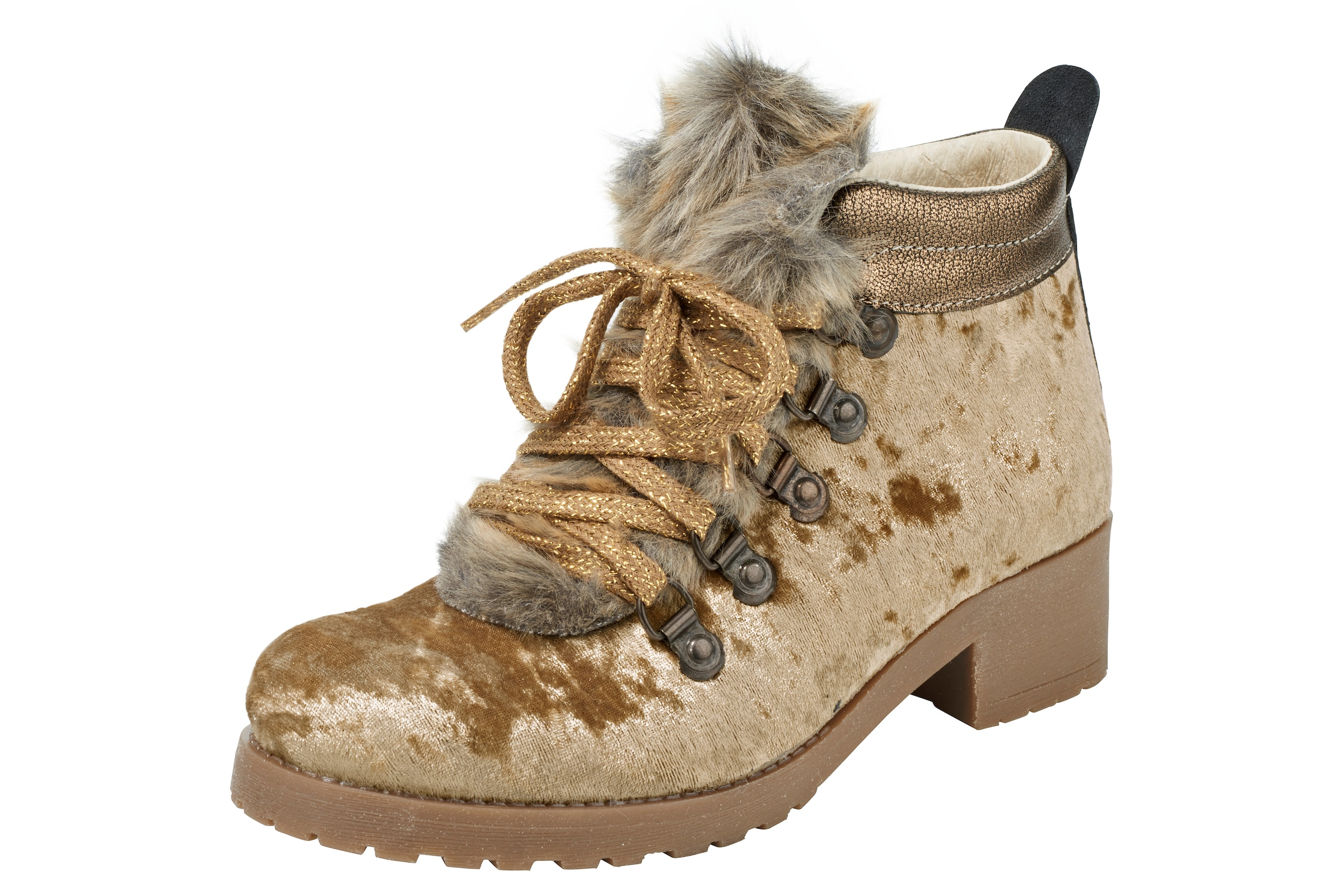 heine Stiefelette mit Webfell Verschleißfeste billige Schuhe