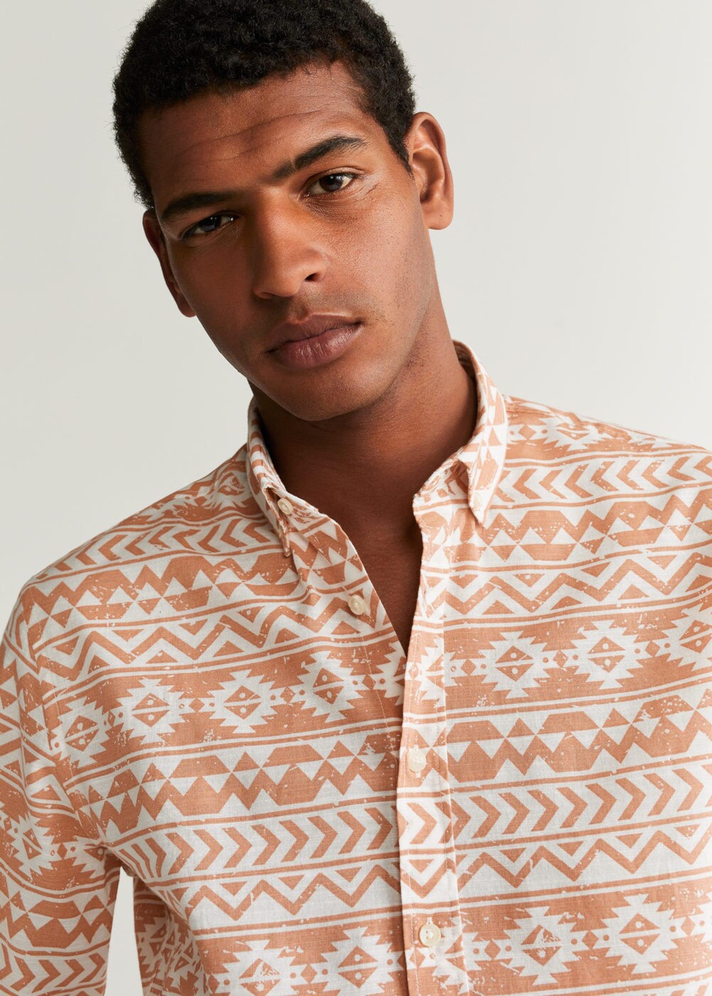 'jack' Hemd Mango In Man PastellorangeWeiß TJcFl3K1