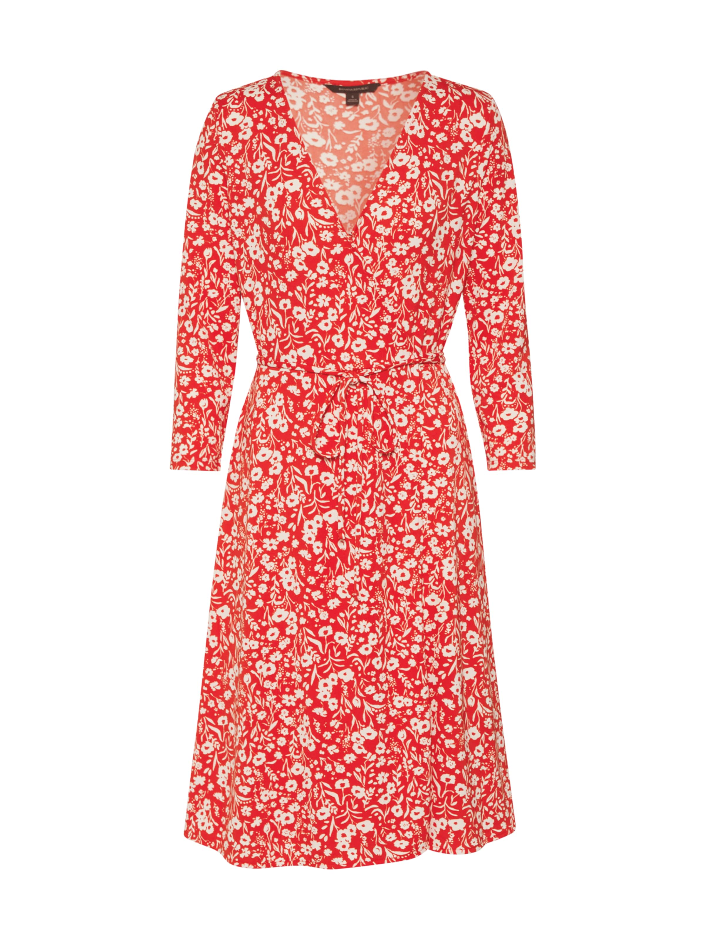 Banana Republic Klänning 'LS KNIT WRAP DRESS PRINT' i röd / vit