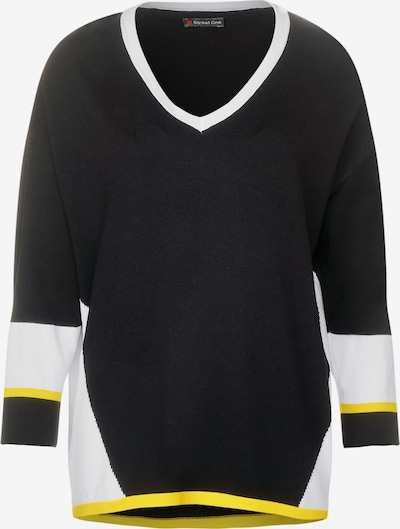 STREET ONE Pullover in gelb / schwarz / weiß, Produktansicht