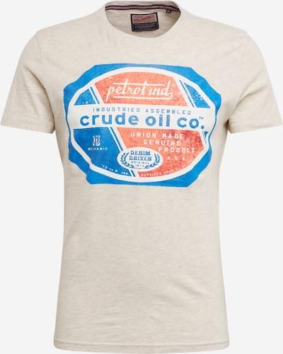Petrol Industries T-Shirt in beigemeliert / blau / hellorange, Produktansicht