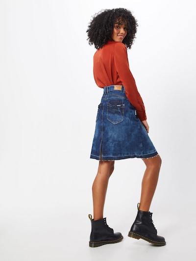 Cream Rok 'Patched denim Skirt' in de kleur Blauw denim: Achteraanzicht