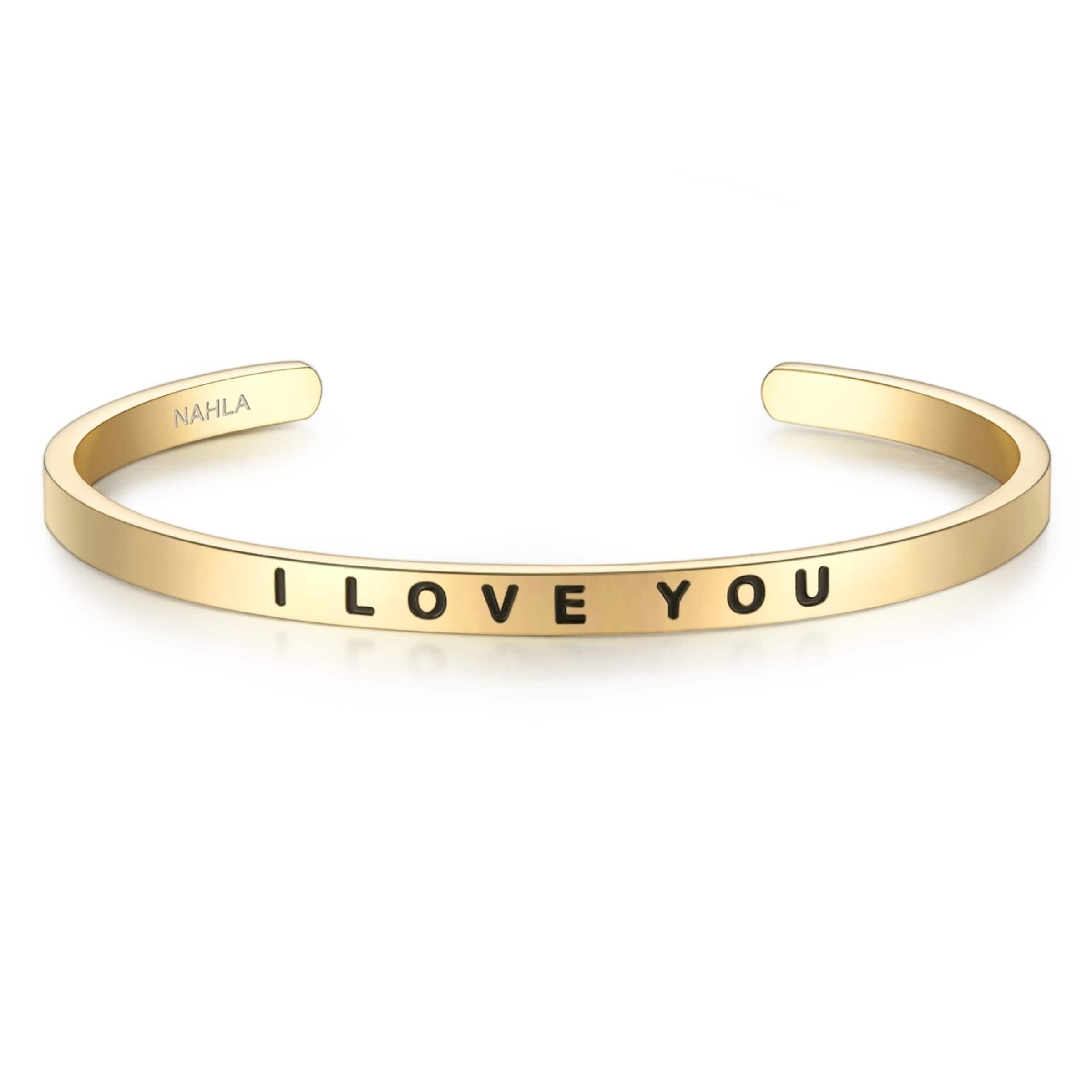 Ziellinie Nahla Jewels Armband Bangle mit I LOVE YOU-Gravur Verkauf Mode-Stil s350RDamm