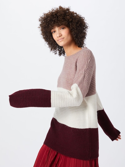 ABOUT YOU Pullover 'Larissa' in creme / rosa / bordeaux: Frontalansicht