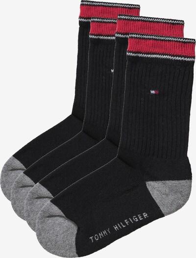 TOMMY HILFIGER Doppelpack Socken in graumeliert / rot / schwarz, Produktansicht