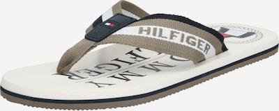 Flip-flops TOMMY HILFIGER pe bej închis / alb, Vizualizare produs