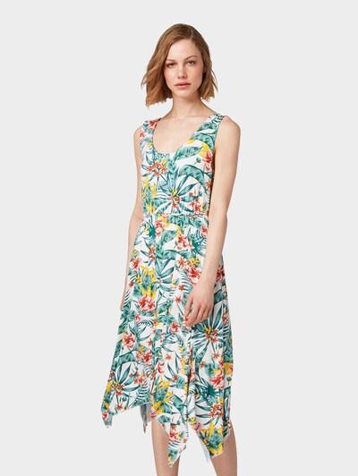 TOM TAILOR Kleid in limone / smaragd / jade / rostrot / offwhite, Modelansicht