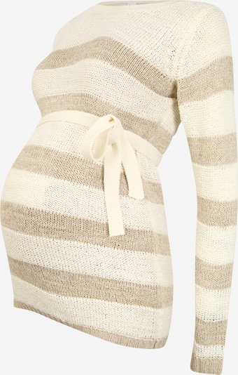 MAMALICIOUS Pullover 'Sandy' in creme / camel, Produktansicht