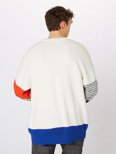 DIESEL Pull-over 'K-RUBLO PULLOVER' en mélange de couleurs / blanc: Vue de dos