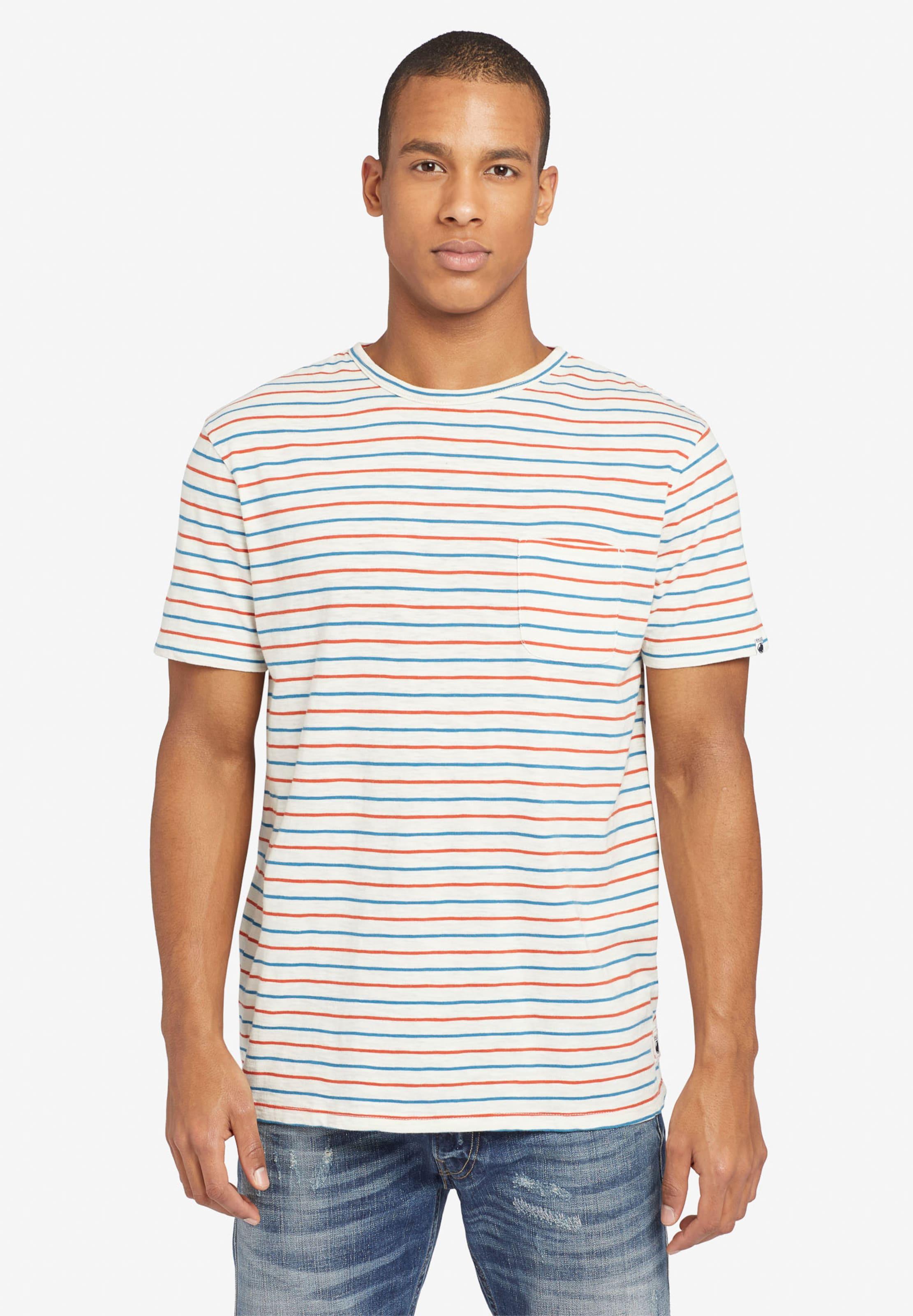 T 'alfons Stripes' In Khujo Weiß shirt BlauOrange XiwOkluTPZ