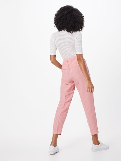 re.draft Hose  'Striped Pants with Pleat' in rosa / weiß: Rückansicht